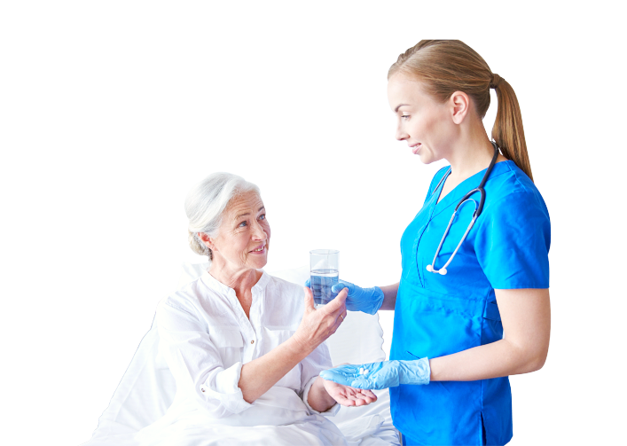 nurse attending the needs of her patient